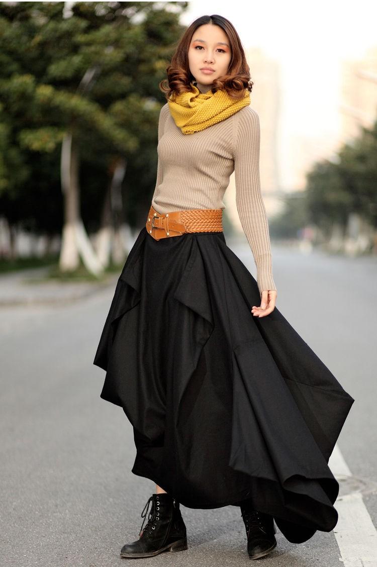 Модные тенденции 2019-2020 года: многослойная одежда юбка кофта шарф