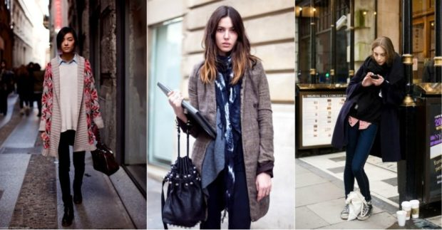 Модные тенденции 2019-2020 года: многослойная одежда кардиган штаны кофта шарф пальто джинсы