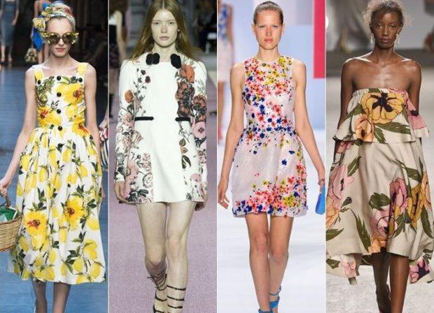 Модные тенденции 2019-2020 года: платья в цветочный принт желтый разноцветный