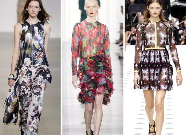 Модные тенденции 2019-2020 года: цветочный принт костюм брючный платья
