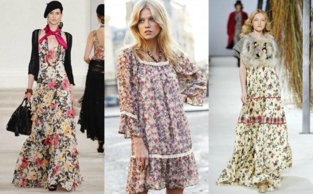 Модные тенденции 2019-2020 года: платья шифоновые в цветок