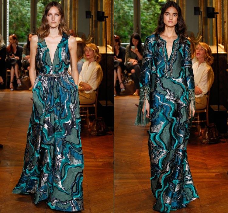 Модные вечерние платья 2019-2020 года: платье зелено с волнами в пол шелковое