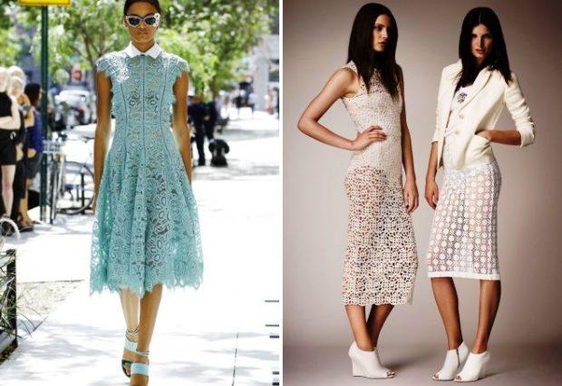 Модные вечерние платья 2019-2020 года: платье белое кружевное бирюзовое белое миди