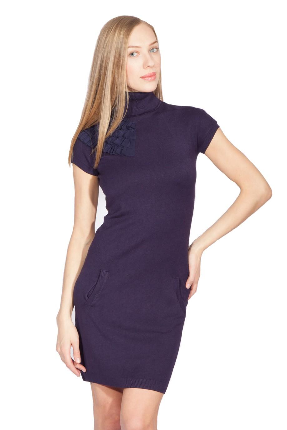 Модные вечерние платья 2019-2020: платье трикотажное по колено короткий рукав
