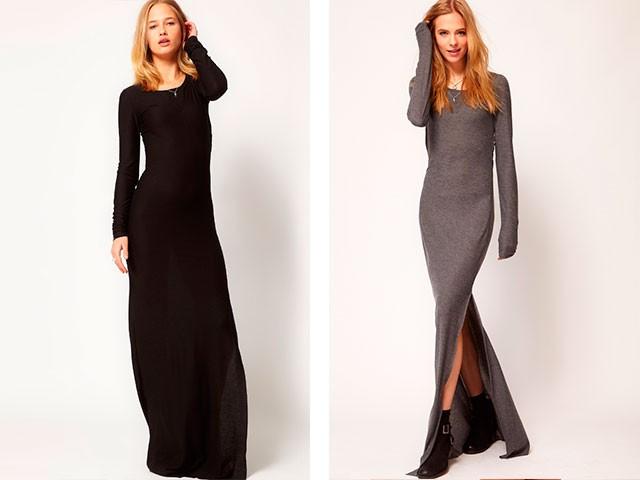 Модные вечерние платья 2019-2020: платье черное серое в пол с разрезом