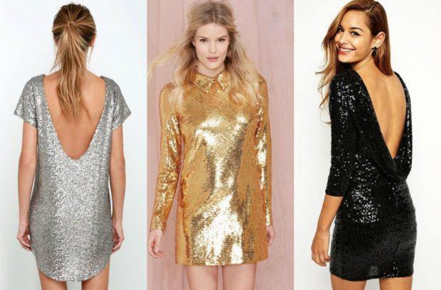 модные вечерние платья 2019-2020: платье в пайетки серебристое золотое черное