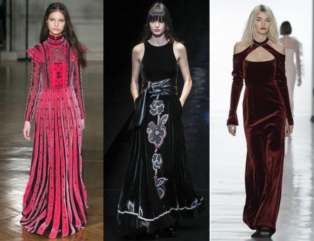 Модные вечерние платья 2019-2020 года: платья в пол красное черное бордовое
