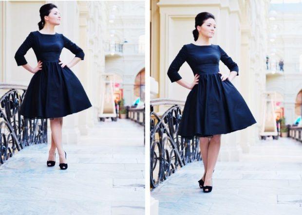 модные вечерние платья 2019-2020: платье 50-х миди синее
