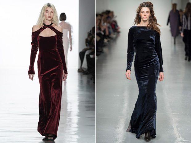 Модные вечерние платья 2019-2020 года: бордовое платье синее в пол