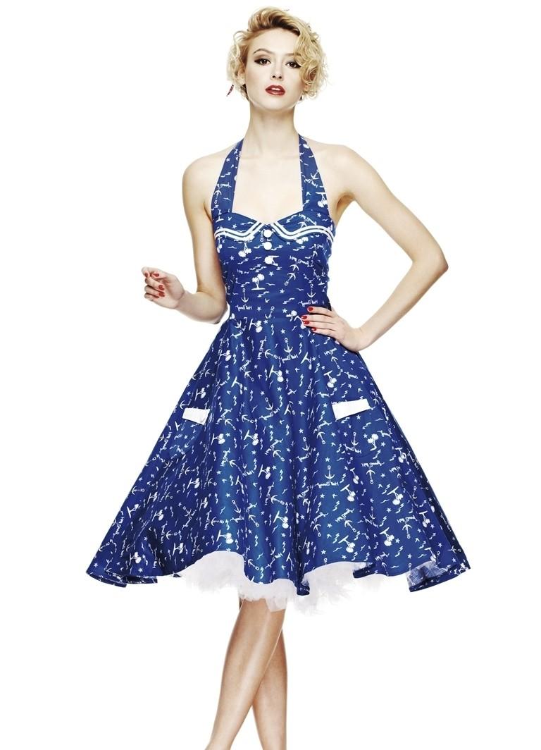 модные вечерние платья 2019-2020: платье 50-х годов синее в принт