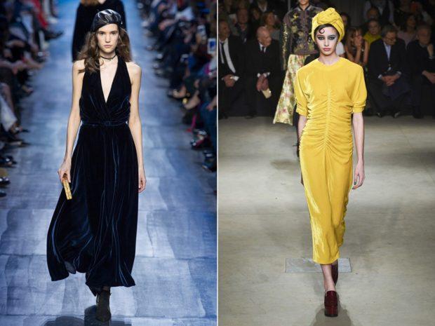 Модные вечерние платья 2019-2020 года: желтое платье синее без плеч