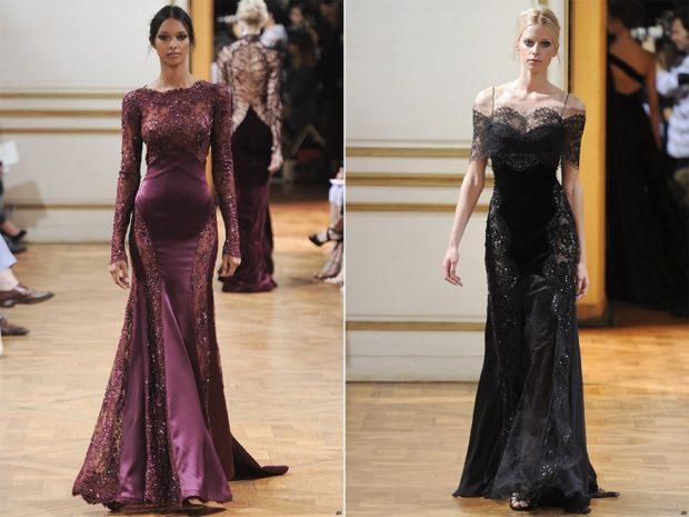 Модные вечерние платья 2019-2020 года: платье в пол сиреневое черное с кружевами