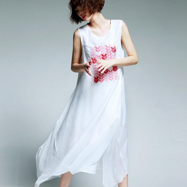 Модные вечерние платья 2019-2020 года: платье из шелка белое бельевой стиль