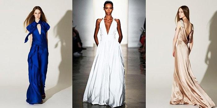 Модные вечерние платья 2019-2020 года: платье шелковое синее белое бежевое в пол