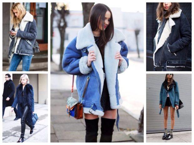 модные женские дубленки 2018: джинсовая дубленка короткая с карманами