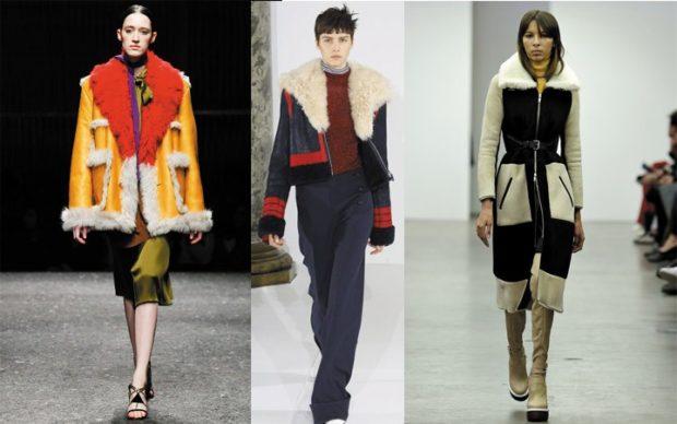 модные женские дубленки 2019-2020: желтая синя короткие черная с белым