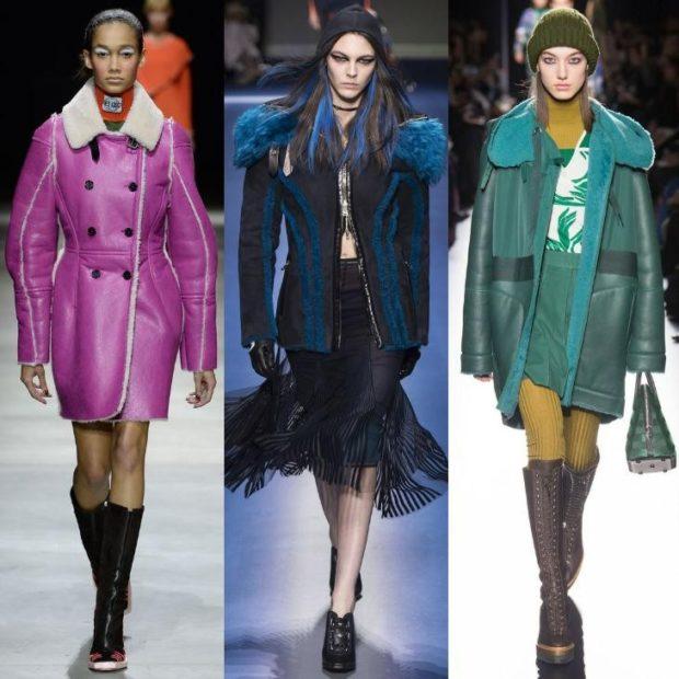 модные женские дубленки 2018: фиолетовая синяя зеленая удлиненные