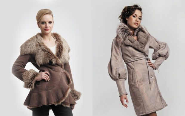 модные женские дубленки 2018: коротки халат под пояс