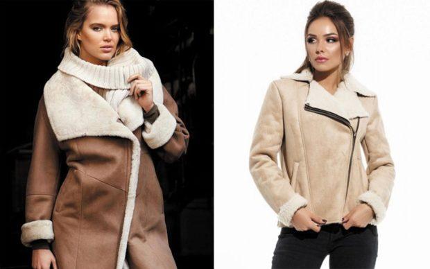 модные женские дубленки 2019-2020: дубленка коричневая длинная корткая бежевая