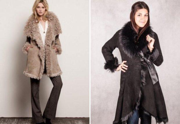 модные женские дубленки 2019-2020: дубленка под пояс халат