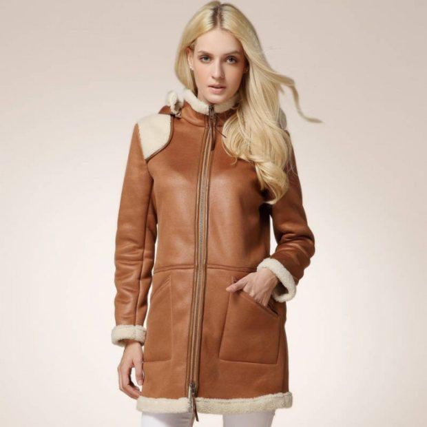 модные женские дубленки 2018: дубленка коричневая классика
