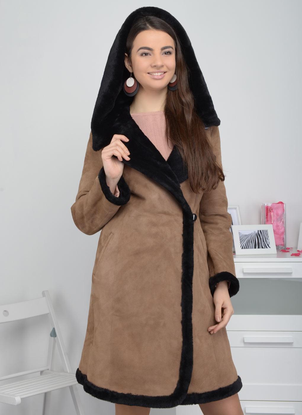 модные женские дубленки 2019-2020: дубленка классика миди коричневая с мехом черным