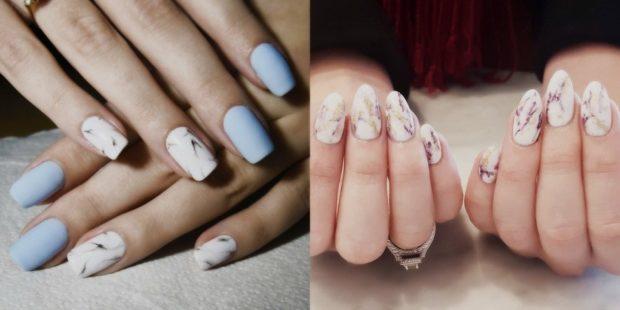 Модный дизайн ногтей в 2019-2020 году: маникюр мраморный белый с коричневым