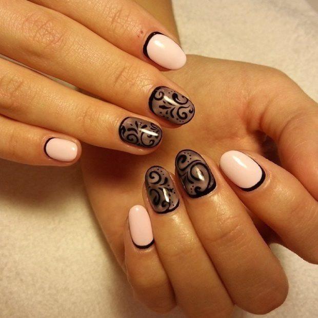 Модный дизайн ногтей в 2019-2020 году: розовые ногти черная вуаль