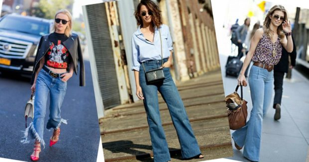 модный милан 2018: джинсы короткие клеша