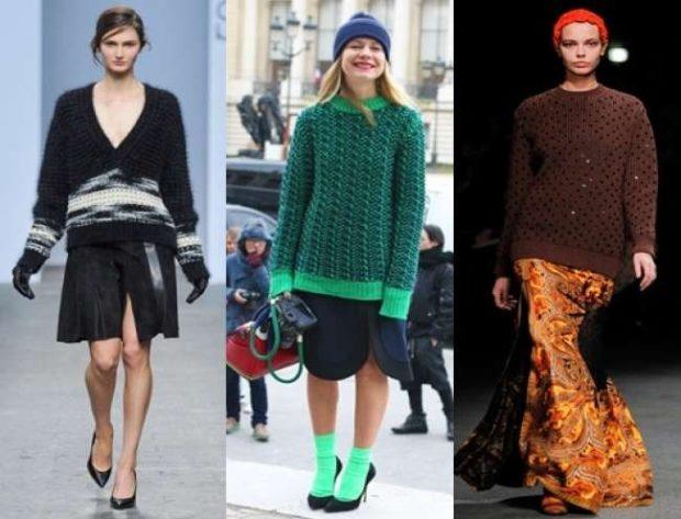 модные милан 2018: огромный свитера черный зеленый коричневый