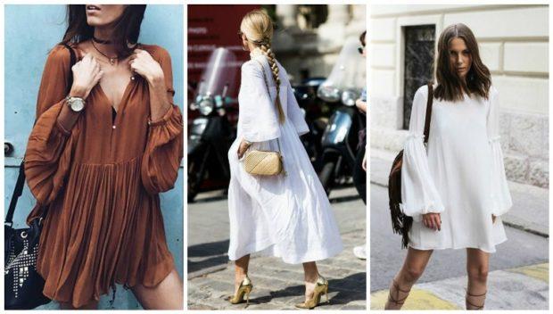 модный милан 2018: платья с объемными рукавами