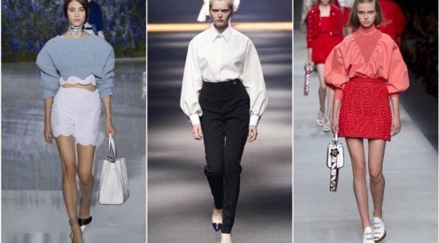 модный милан 2018: рубашки блузки с объемными рукавами