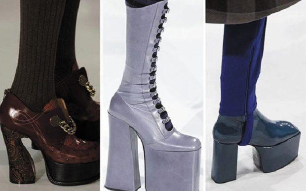 модный милан 2018: ботинки туфли на платформе и каблуке