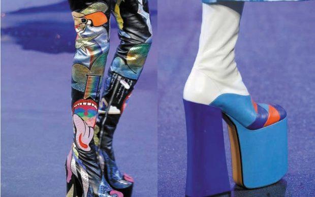 модный милан 2018: сапоги на платформе и каблуке яркие