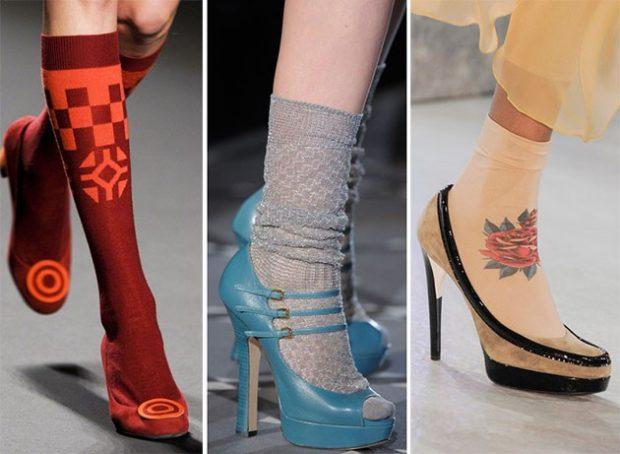 модный милн 2018: носки под босоножки туфли