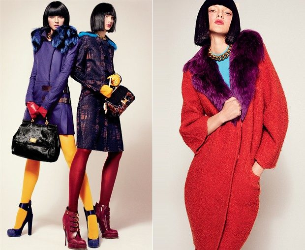 модные милан 2018: пальто с цветным воротом