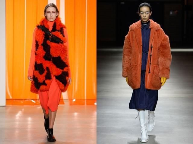 модный милан 2018: шубы оранжевые с черным