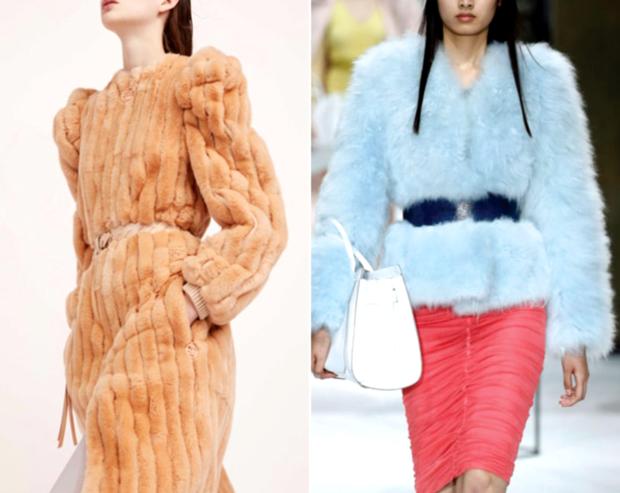 модный милан 2018: шуба оранжевая голбая