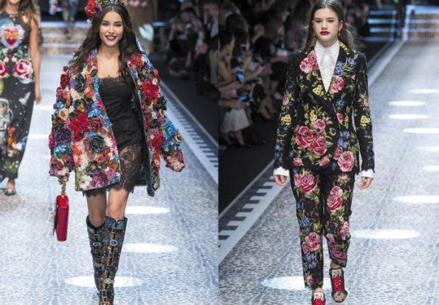 модный милан 2018: костюм и пальто в цветы
