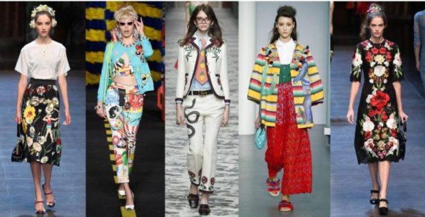 модный милан 2018: вещи в принт полоску цветы
