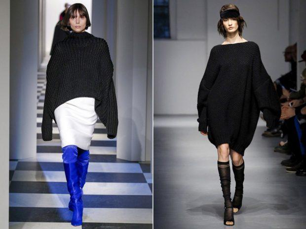 модный милан 2018: черная кофта обьемная