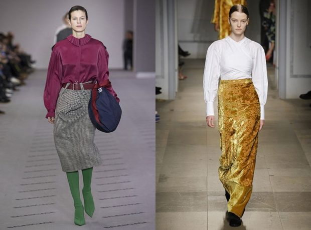 модный образ зима 2018: романтический образ юбка с блузками
