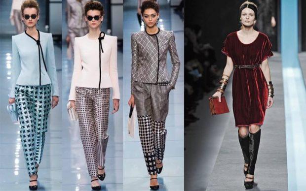 модный образ зима 2018: романтический образ с брюками платье бордовое