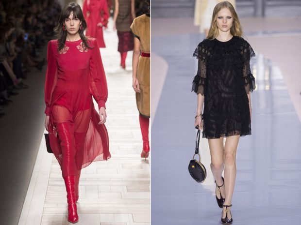 модный образ зима 2018: романтически образ платье красное платье черное