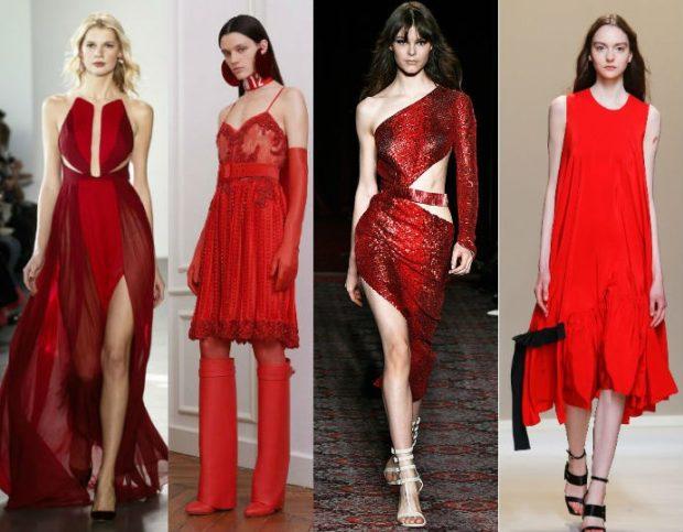 модный образ зима 2018: платья красные длинные короткие на вечер