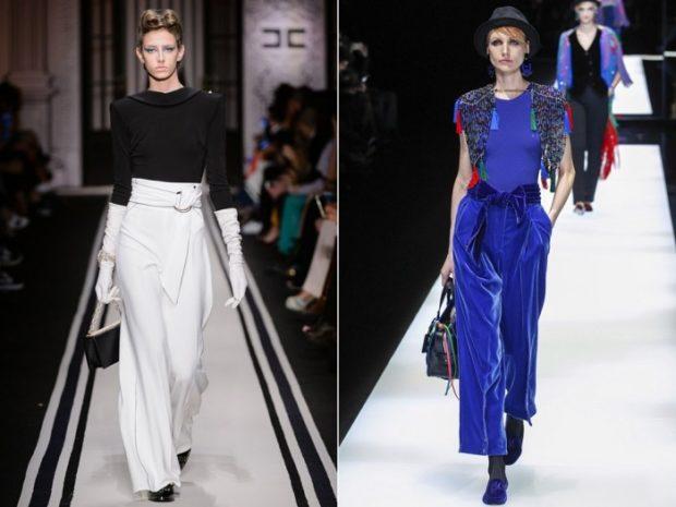 модный образ зима 2019-2020: романтический образ брюки белые синие