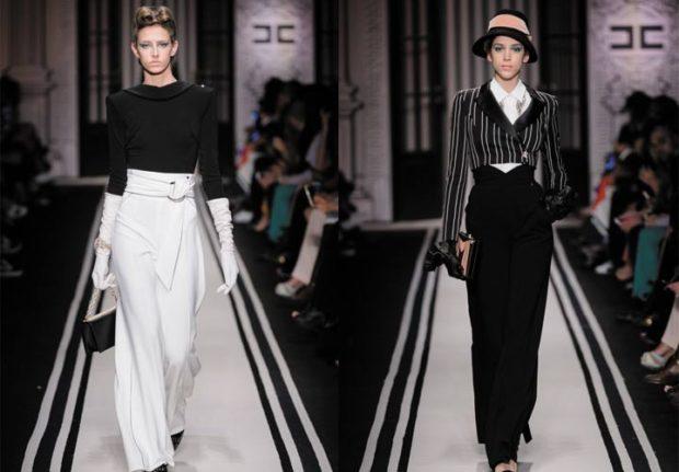 модный образ зима 2018: брюки белые черные с завышенной талией