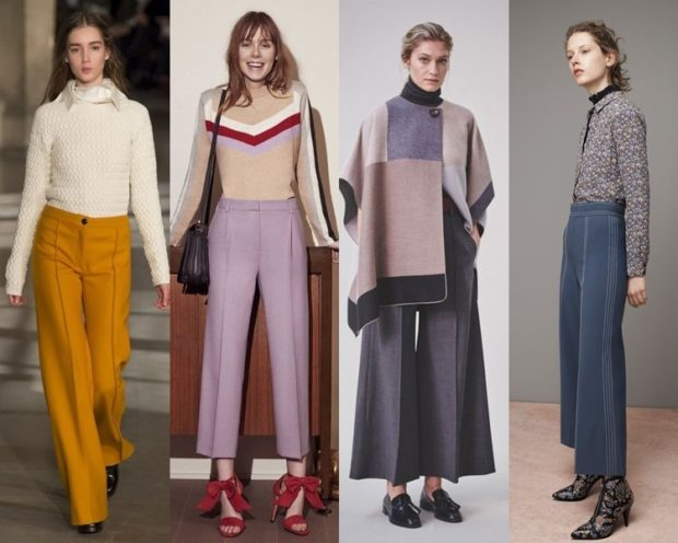 модный образ зима 2018: брюки длинные короткие с высокой талией
