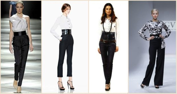 модный образ зима 2018: брюки с высокой талией черные зимниее