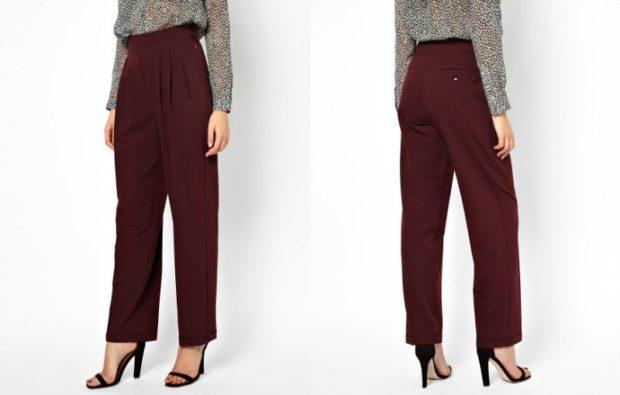 модный образ зима 2018: брюки бордо высокая талия